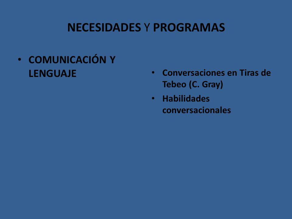 NECESIDADES Y PROGRAMAS COMUNICACIÓN Y LENGUAJE Conversaciones en Tiras de Tebeo (C. Gray) Habilidades conversacionales