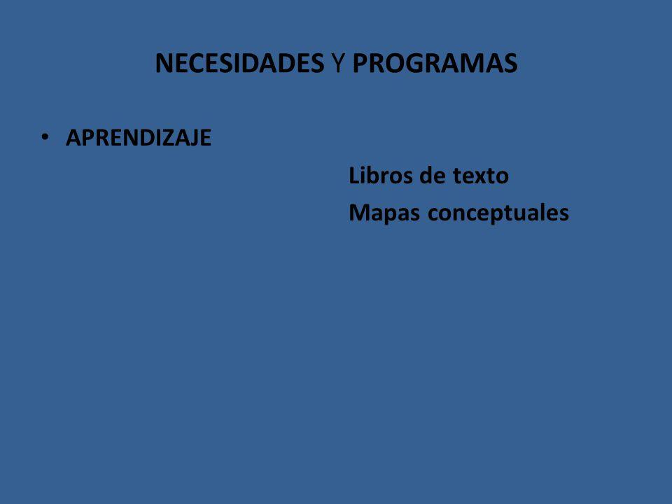 NECESIDADES Y PROGRAMAS APRENDIZAJE Libros de texto Mapas conceptuales