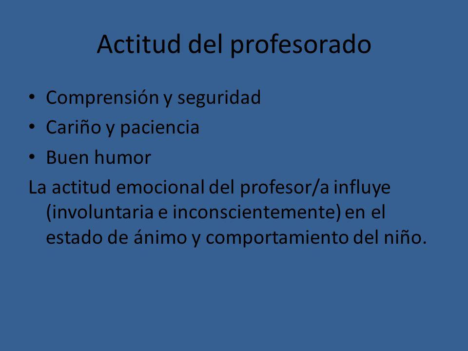 Actitud del profesorado Comprensión y seguridad Cariño y paciencia Buen humor La actitud emocional del profesor/a influye (involuntaria e inconsciente