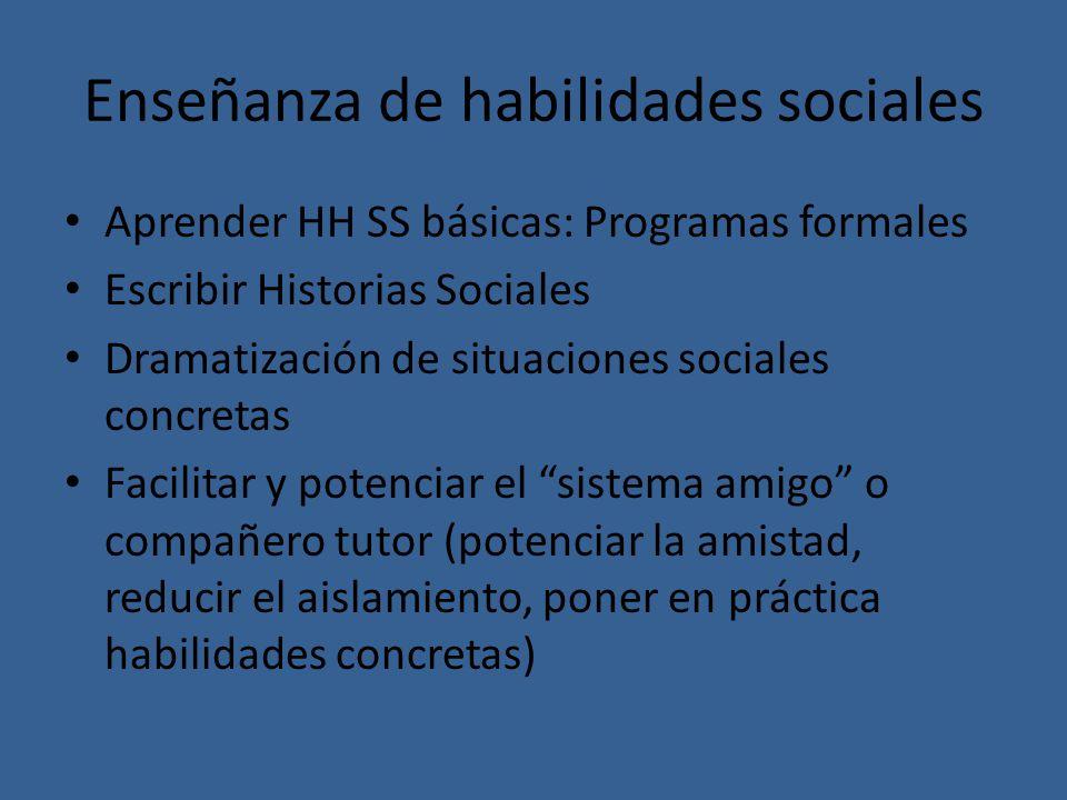 Enseñanza de habilidades sociales Aprender HH SS básicas: Programas formales Escribir Historias Sociales Dramatización de situaciones sociales concret