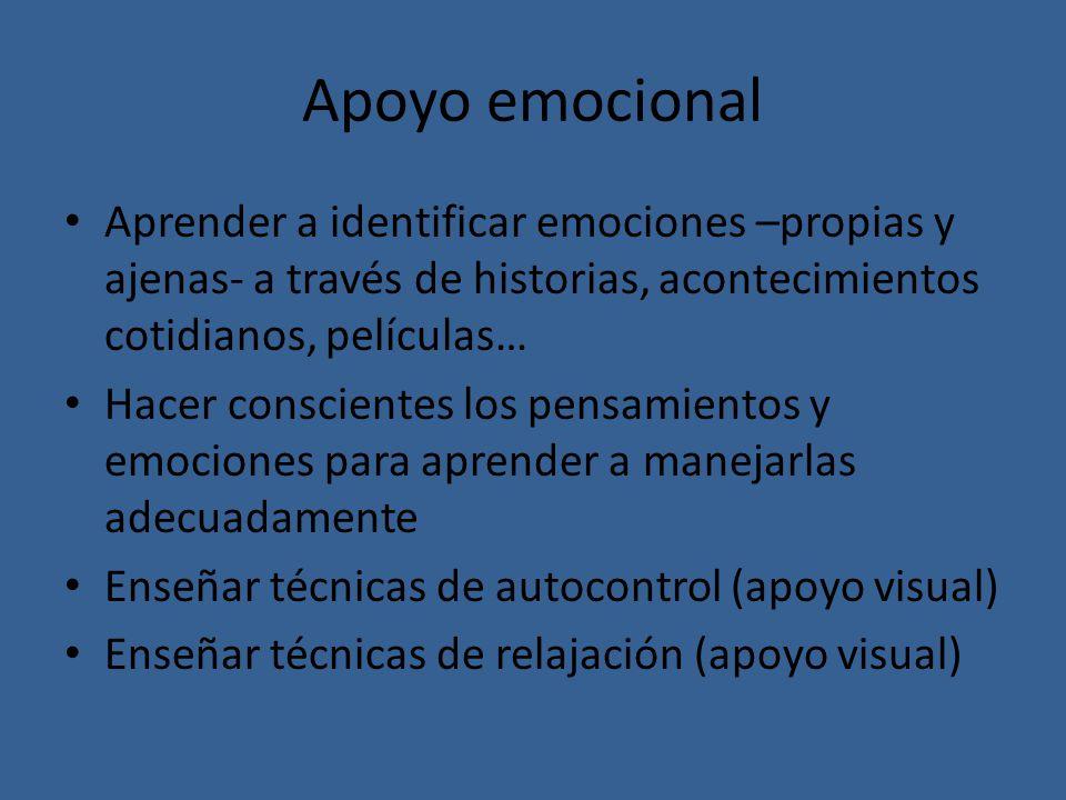 Apoyo emocional Aprender a identificar emociones –propias y ajenas- a través de historias, acontecimientos cotidianos, películas… Hacer conscientes lo