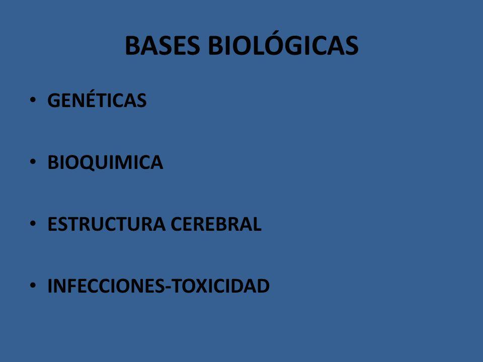 BASES BIOLÓGICAS GENÉTICAS BIOQUIMICA ESTRUCTURA CEREBRAL INFECCIONES-TOXICIDAD