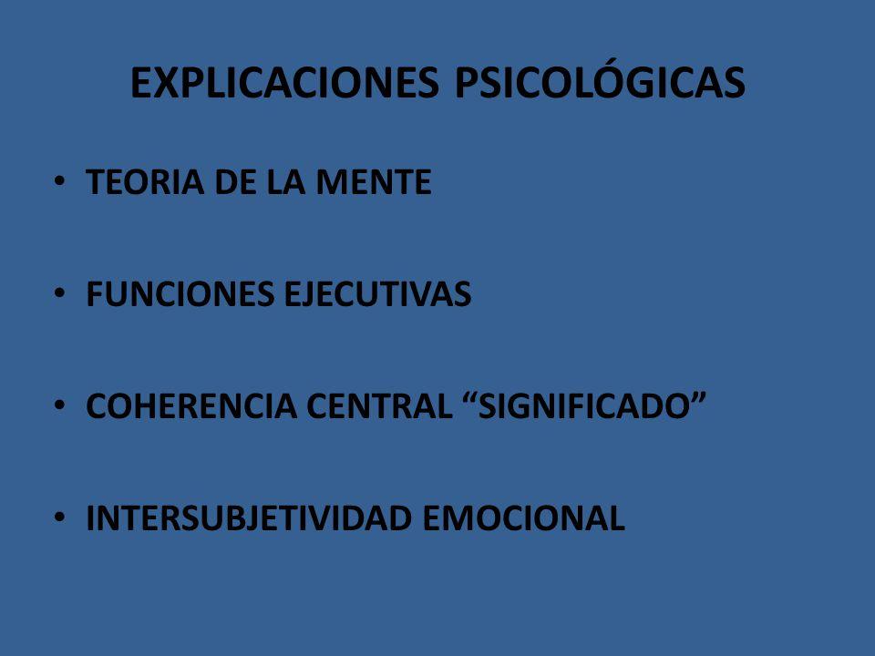 EXPLICACIONES PSICOLÓGICAS TEORIA DE LA MENTE FUNCIONES EJECUTIVAS COHERENCIA CENTRAL SIGNIFICADO INTERSUBJETIVIDAD EMOCIONAL