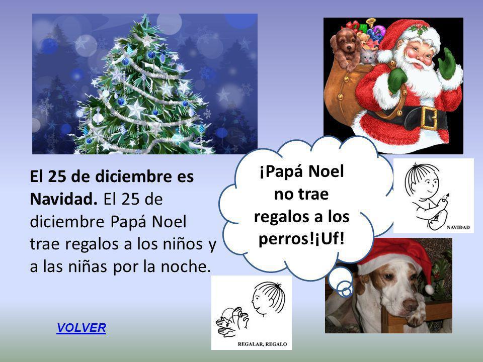 El 25 de diciembre es Navidad. El 25 de diciembre Papá Noel trae regalos a los niños y a las niñas por la noche. ¡Papá Noel no trae regalos a los perr