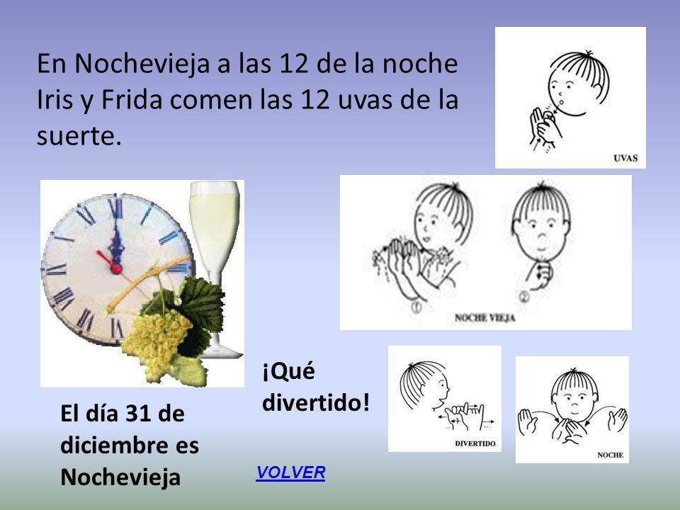 En Nochevieja a las 12 de la noche Iris y Frida comen las 12 uvas de la suerte. El día 31 de diciembre es Nochevieja ¡Qué divertido! VOLVER