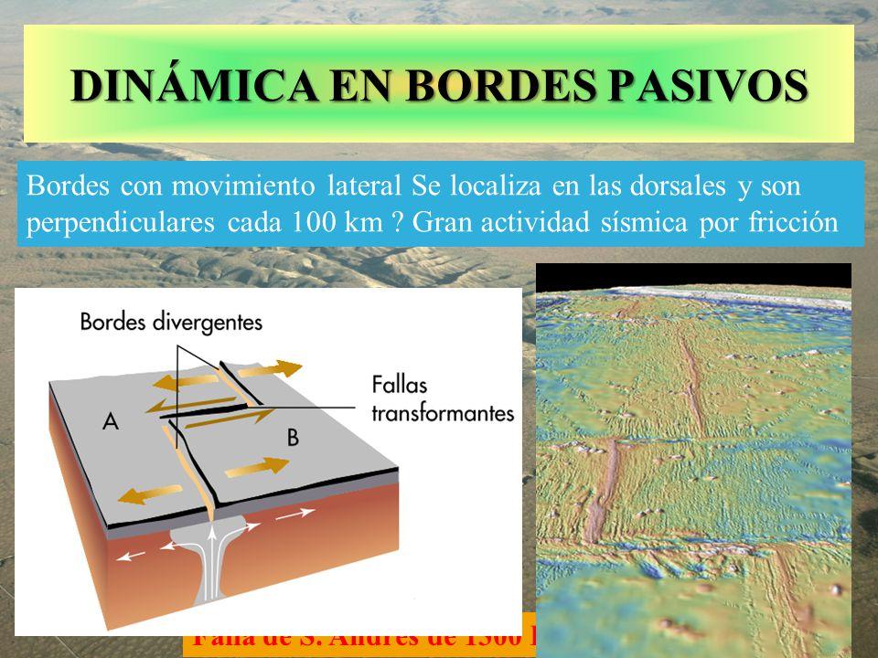 Falla de S. Andrés de 1300 Km.. DINÁMICA EN BORDES PASIVOS Bordes con movimiento lateral Se localiza en las dorsales y son perpendiculares cada 100 km