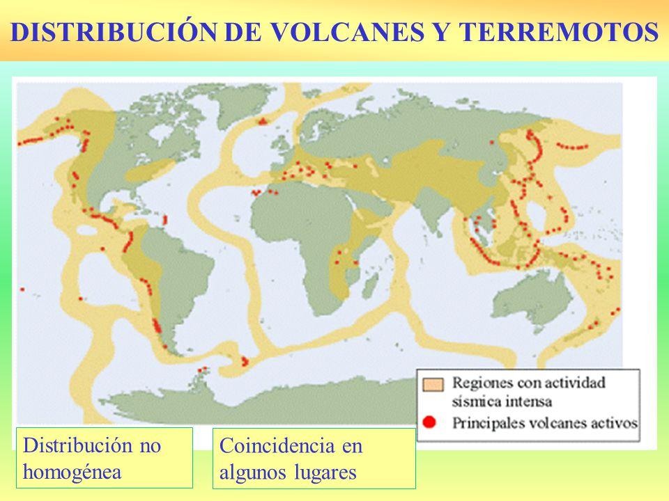 DISTRIBUCIÓN DE VOLCANES Y TERREMOTOS Distribución no homogénea Coincidencia en algunos lugares