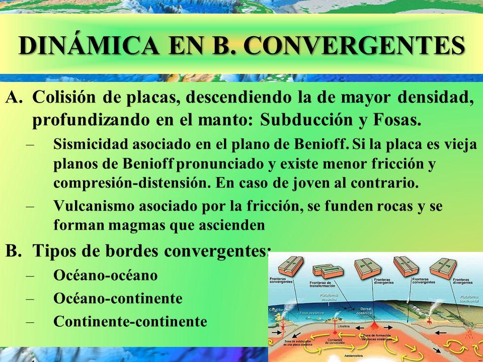 Fosa Perú- Chile o Atacama: 8 km. DINÁMICA EN B. CONVERGENTES A.Colisión de placas, descendiendo la de mayor densidad, profundizando en el manto: Subd