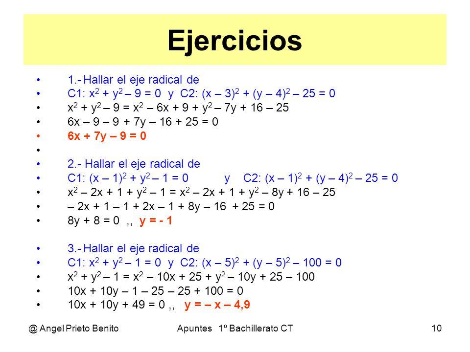 @ Angel Prieto BenitoApuntes 1º Bachillerato CT10 Ejercicios 1.-Hallar el eje radical de C1: x 2 + y 2 – 9 = 0 y C2: (x – 3) 2 + (y – 4) 2 – 25 = 0 x