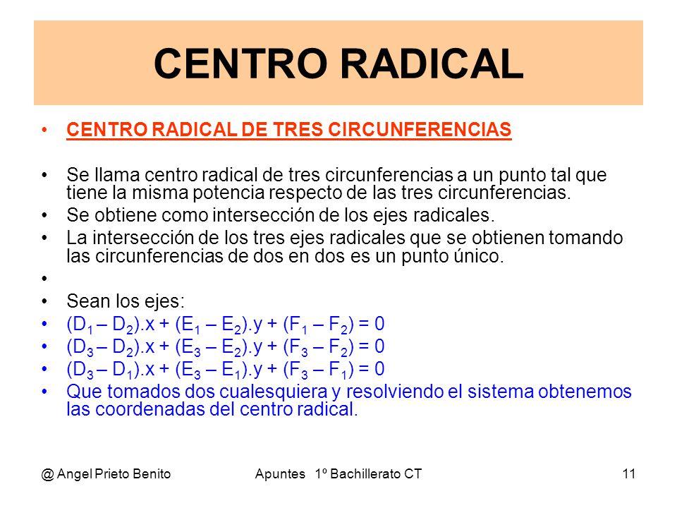 @ Angel Prieto BenitoApuntes 1º Bachillerato CT11 CENTRO RADICAL CENTRO RADICAL DE TRES CIRCUNFERENCIAS Se llama centro radical de tres circunferencia