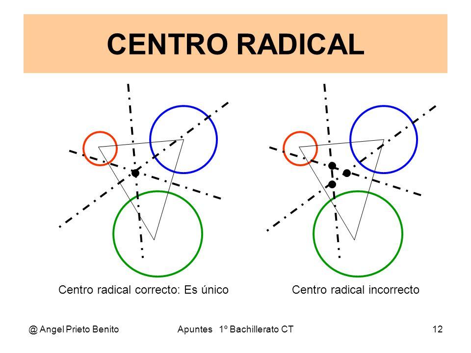 @ Angel Prieto BenitoApuntes 1º Bachillerato CT13 Ejercicios 1.-Hallar el centro radical de C1: x 2 + y 2 – 9 = 0 C2: (x – 3) 2 + (y – 4) 2 – 25 = 0 y C3: (x – 5) 2 + (y – 5) 2 – 100 = 0 Tomadas dos a dos los ejes radicales son: 6x + 8y – 9 = 0(1) y = – 2x – 25(2) y = – x – 4,1(3) Tomamos los ejes (2) y (3); y resolviendo por igualación: 2x + 25 = x + 4,1 x = 4,1 – 25 = x x = – 20,9 y = – x – 4,1 = 20,9 – 4,1 = 16,8 Comprobamos que el punto pertenece al eje (1): 6x + 8y – 9 = 0 6.(– 20,9 ) + 8.(16,8) – 9 = 0 – 125,4 + 134,4 – 9 = 0,, 9 – 9 = 0 El centro radical es el punto P(– 209, 168)