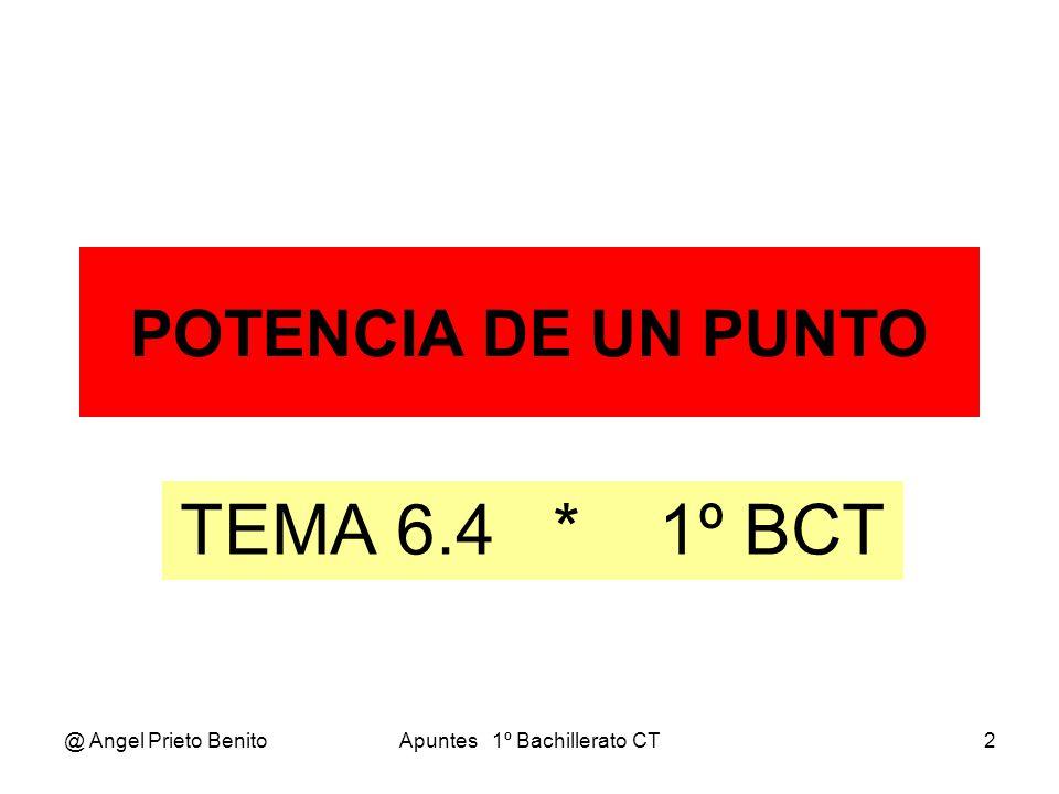 @ Angel Prieto BenitoApuntes 1º Bachillerato CT3 POTENCIA DE UN PUNTO POTENCIA DE UN PUNTO Por un punto P(a, b) trazamos dos o más rectas que corten a una circunferencia de centro C(k, h) y radio r.