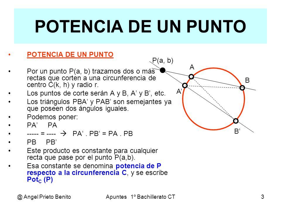 @ Angel Prieto BenitoApuntes 1º Bachillerato CT4 Cálculo de la potencia CALCULO DE LA POTENCIA DE UN PUNTO Como hemos dicho que es indiferente la recta secante trazada por P, tomamos aquella que coincide con el diámetro de la circunferencia.