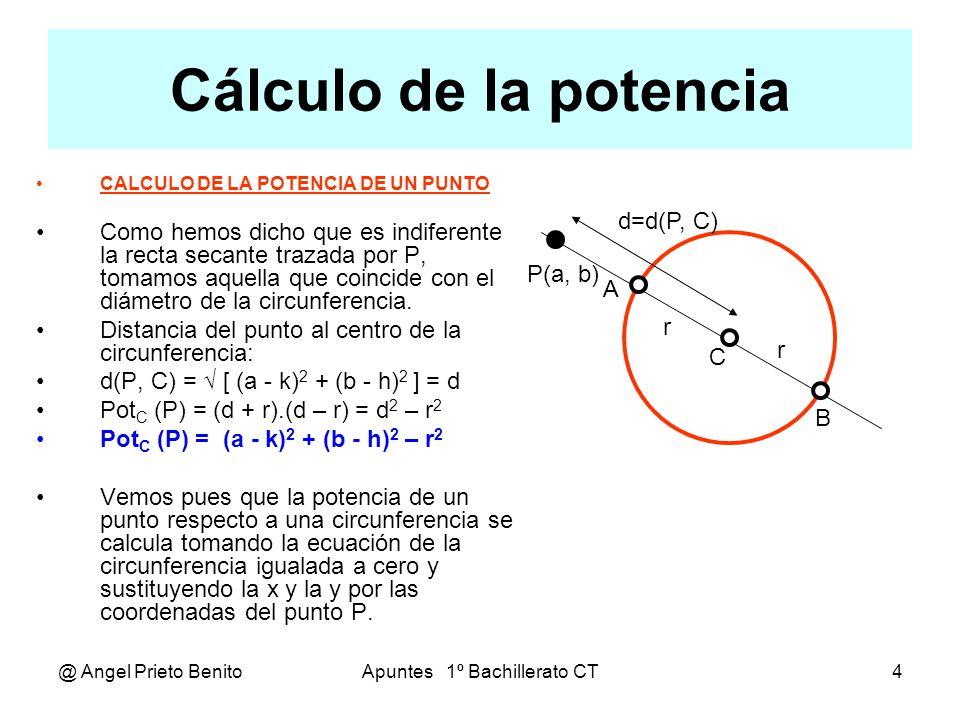@ Angel Prieto BenitoApuntes 1º Bachillerato CT5 Consecuencias Consecuencias: Si la potencia es positiva, el punto es exterior a la circunferencia.