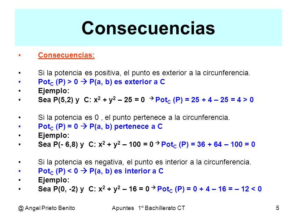 @ Angel Prieto BenitoApuntes 1º Bachillerato CT6 Ejercicios Ejemplo 1 Sea P(0,2) y C: x 2 + y 2 – 2x + 5 = 0 Pot C (P) = 0 + 4 – 0 + 5 = 9 > 0 El punto es exterior a la circunferencia Ejemplo 2 Sea P(1, -1) y C: x 2 + y 2 – 2x + 3y – 5 = 0 Pot C (P) = 1 + 1 – 2 – 3 – 5 = – 8 < 0 El punto es interior a la circunferencia Ejemplo 3 Sea P(a, 0) y C: x 2 + y 2 – a 2 = 0 Pot C (P) = a 2 – a 2 = 0 = 0 El punto pertenece a la circunferencia, sea cual sea el valor de a.