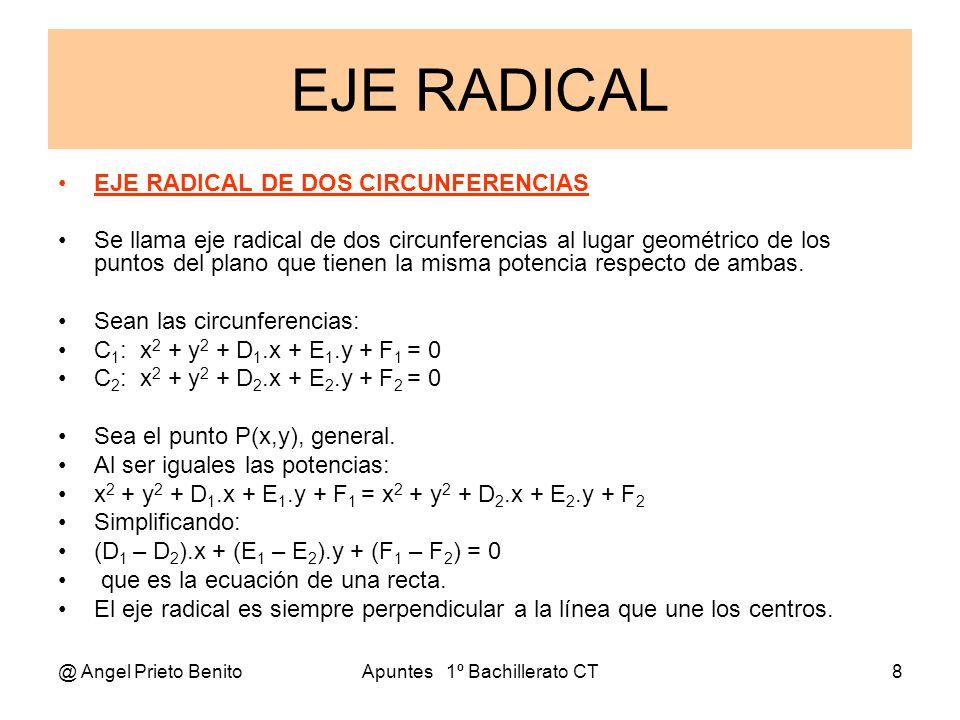 @ Angel Prieto BenitoApuntes 1º Bachillerato CT8 EJE RADICAL EJE RADICAL DE DOS CIRCUNFERENCIAS Se llama eje radical de dos circunferencias al lugar g