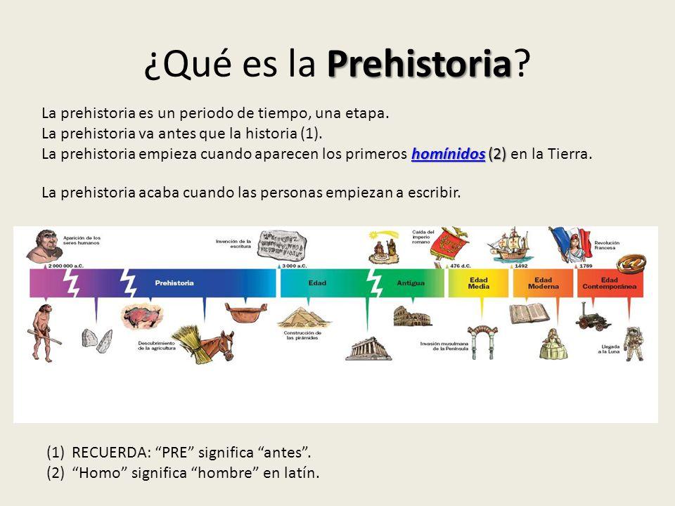 Prehistoria ¿Qué es la Prehistoria? La prehistoria es un periodo de tiempo, una etapa. La prehistoria va antes que la historia (1). homínidoshomínidos