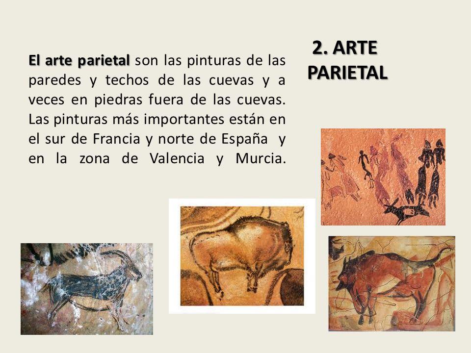 El arte parietal El arte parietal son las pinturas de las paredes y techos de las cuevas y a veces en piedras fuera de las cuevas. Las pinturas más im