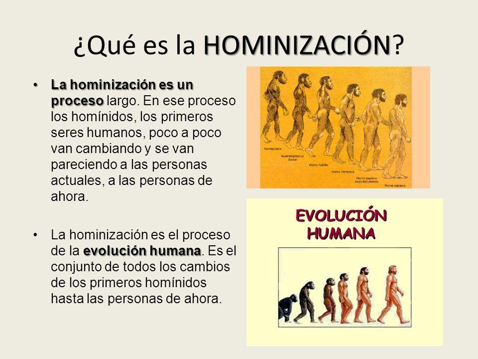HOMINIZACIÓN ¿Qué es la HOMINIZACIÓN? La hominización es un procesoLa hominización es un proceso largo. En ese proceso los homínidos, los primeros ser