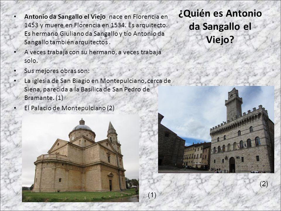 ¿Quién es Antonio da Sangallo el Viejo? Antonio da Sangallo el Viejo nace en Florencia en 1453 y muere en Florencia en 1534. Es arquitecto. Es hermano