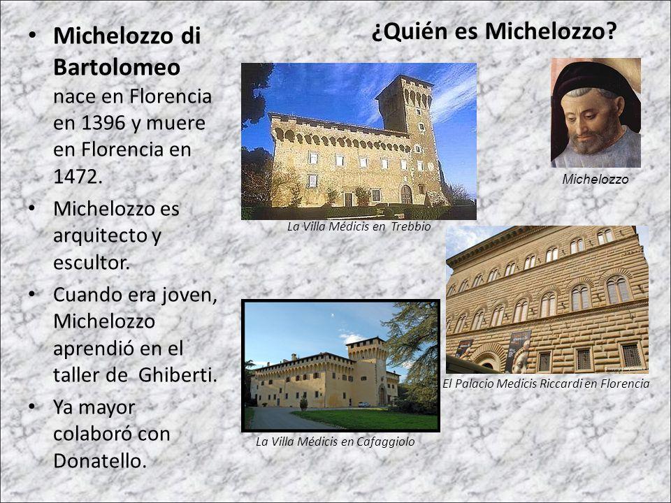 Michelozzo di Bartolomeo nace en Florencia en 1396 y muere en Florencia en 1472. Michelozzo es arquitecto y escultor. Cuando era joven, Michelozzo apr