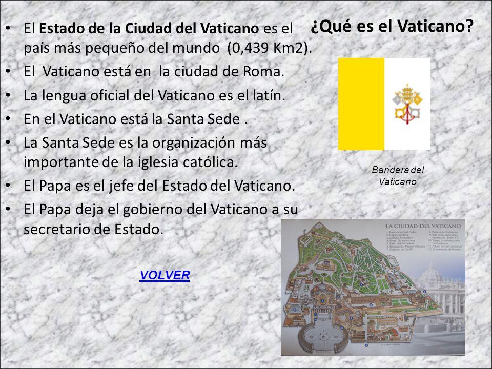 ¿Qué es el Vaticano? El Estado de la Ciudad del Vaticano es el país más pequeño del mundo (0,439 Km2). El Vaticano está en la ciudad de Roma. La lengu