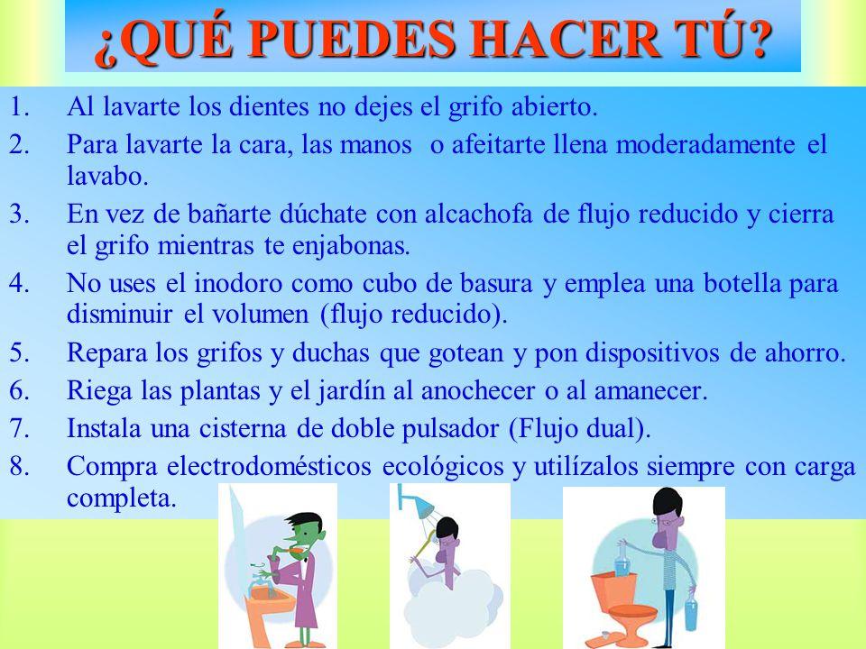1.Al lavarte los dientes no dejes el grifo abierto. 2.Para lavarte la cara, las manos o afeitarte llena moderadamente el lavabo. 3.En vez de bañarte d