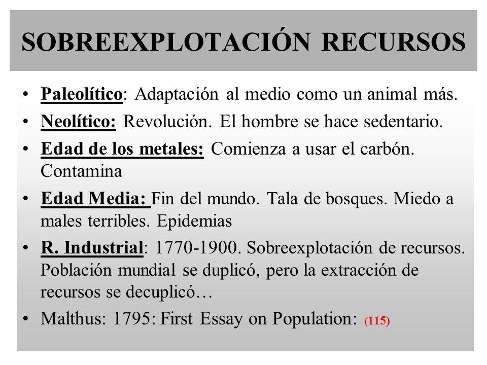 SOBREEXPLOTACIÓN RECURSOS Paleolítico: Adaptación al medio como un animal más. Neolítico: Revolución. El hombre se hace sedentario. Edad de los metale