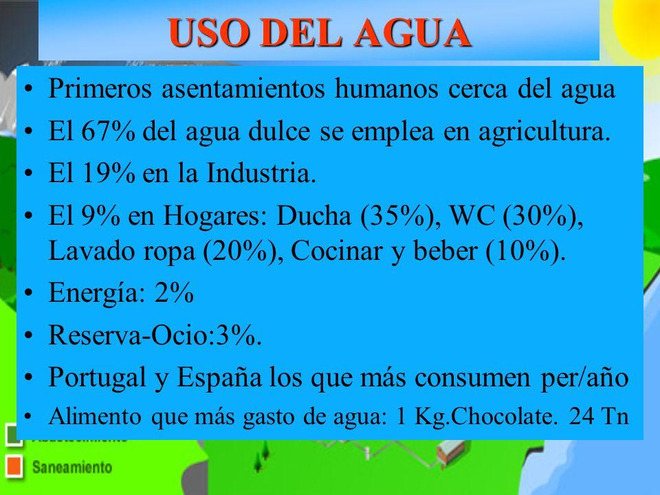 USO DEL AGUA Goteo en olivar Primeros asentamientos humanos cerca del agua El 67% del agua dulce se emplea en agricultura. El 19% en la Industria. El
