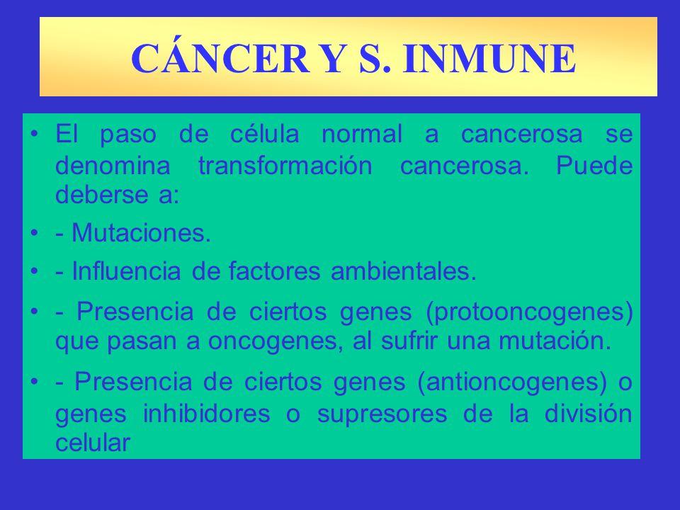 CÁNCER Y S. INMUNE Un tumor es una multiplicación y crecimiento irregular de las células. En general, los tumores pueden ser: - Tumores benignos: Loca