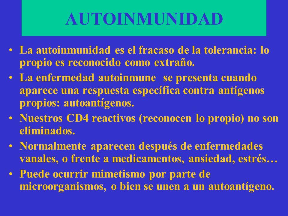 ANOMALÍAS DEL S. INMUNE AUTOINMUNIDAD: Tolerancia HIPERSENSIBILIDAD: Dinámica INMUNODEFICIENCIAS: Específica HISTOCOMPATIBILIDAD: Adaptatividad Recono