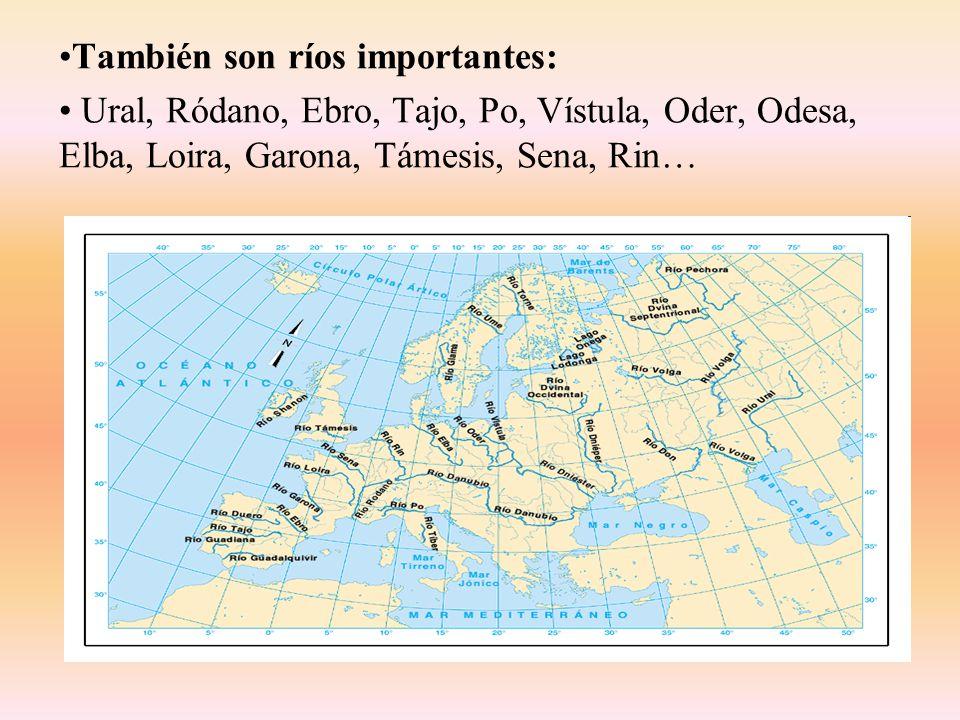 También son ríos importantes: Ural, Ródano, Ebro, Tajo, Po, Vístula, Oder, Odesa, Elba, Loira, Garona, Támesis, Sena, Rin…