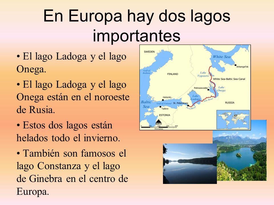 En Europa hay dos lagos importantes El lago Ladoga y el lago Onega. El lago Ladoga y el lago Onega están en el noroeste de Rusia. Estos dos lagos está