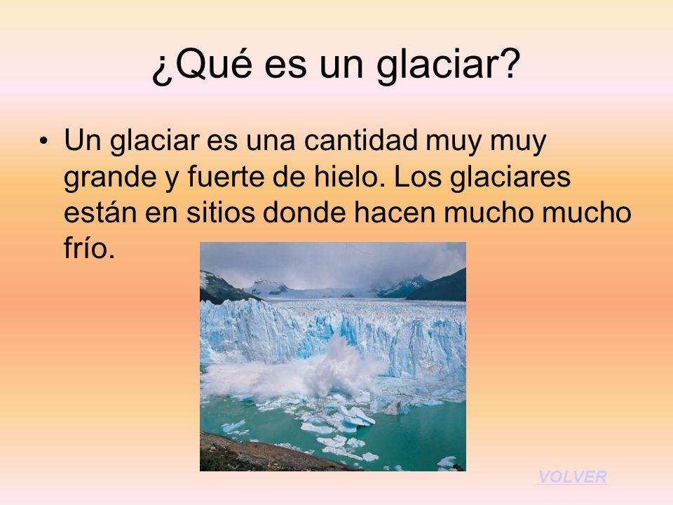 ¿Qué es un glaciar? Un glaciar es una cantidad muy muy grande y fuerte de hielo. Los glaciares están en sitios donde hacen mucho mucho frío. VOLVER