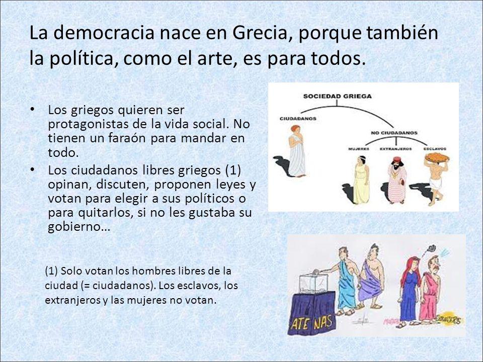 La democracia nace en Grecia, porque también la política, como el arte, es para todos. Los griegos quieren ser protagonistas de la vida social. No tie