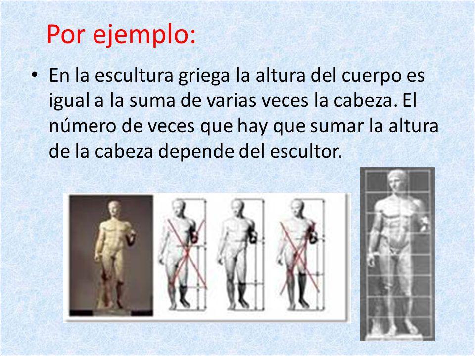 Por ejemplo: En la escultura griega la altura del cuerpo es igual a la suma de varias veces la cabeza. El número de veces que hay que sumar la altura