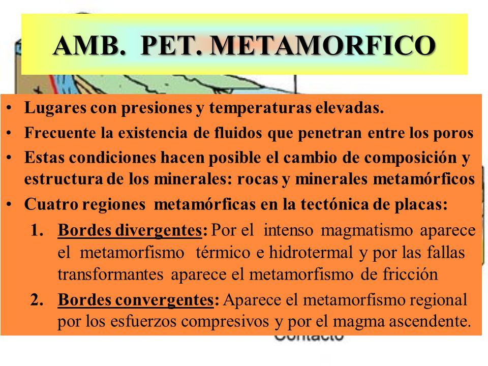 AMB. PET. METAMORFICO Lugares con presiones y temperaturas elevadas. Frecuente la existencia de fluidos que penetran entre los poros Estas condiciones