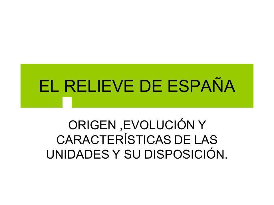 EL RELIEVE DE ESPAÑA ORIGEN,EVOLUCIÓN Y CARACTERÍSTICAS DE LAS UNIDADES Y SU DISPOSICIÓN.