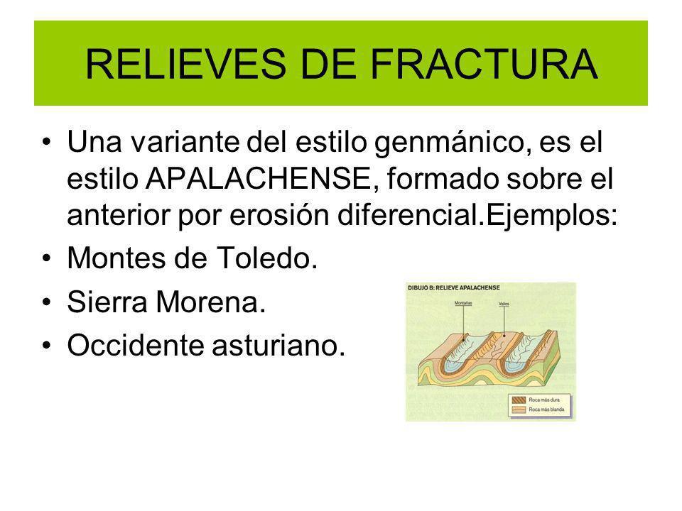 RELIEVES DE FRACTURA Una variante del estilo genmánico, es el estilo APALACHENSE, formado sobre el anterior por erosión diferencial.Ejemplos: Montes d