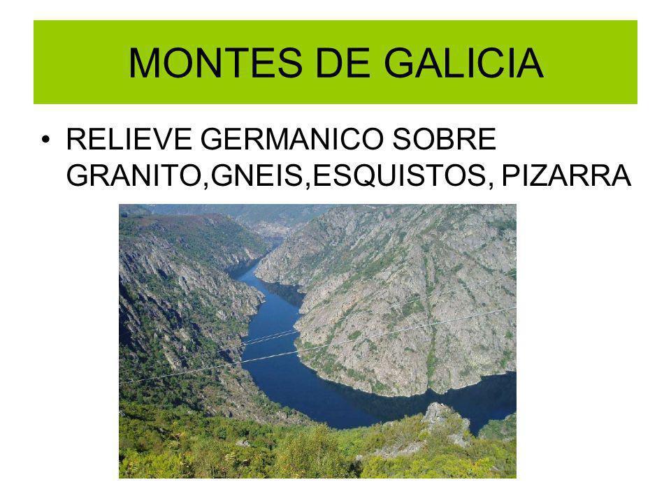 MONTES DE GALICIA RELIEVE GERMANICO SOBRE GRANITO,GNEIS,ESQUISTOS, PIZARRA