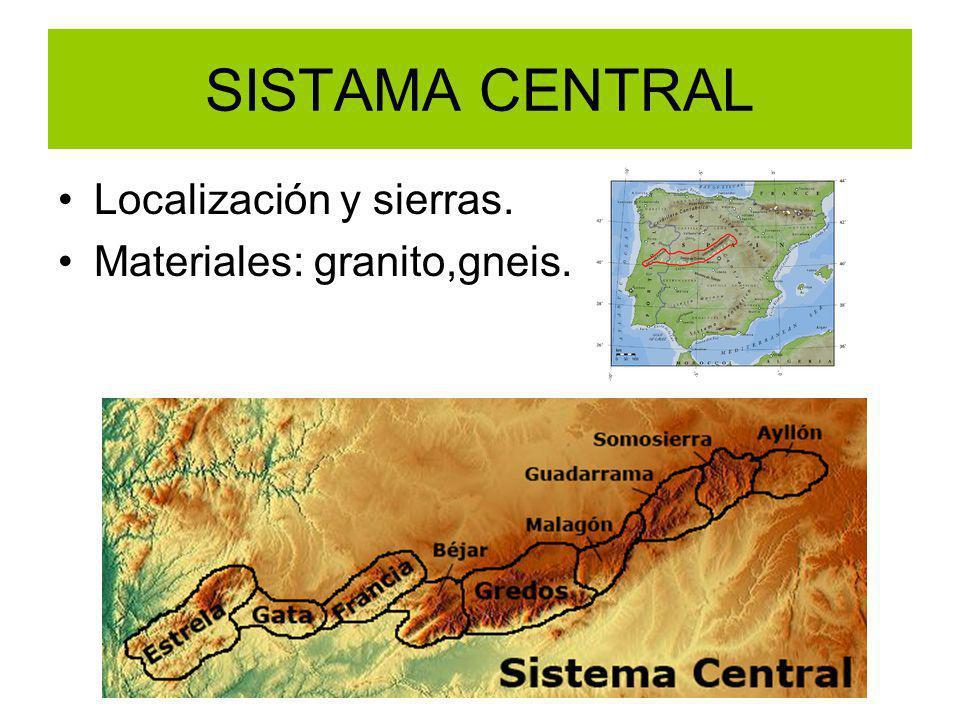 SISTAMA CENTRAL Localización y sierras. Materiales: granito,gneis.