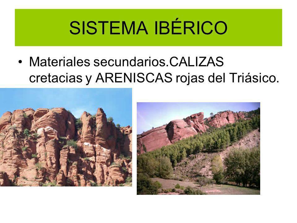 Materiales secundarios.CALIZAS cretacias y ARENISCAS rojas del Triásico. SISTEMA IBÉRICO