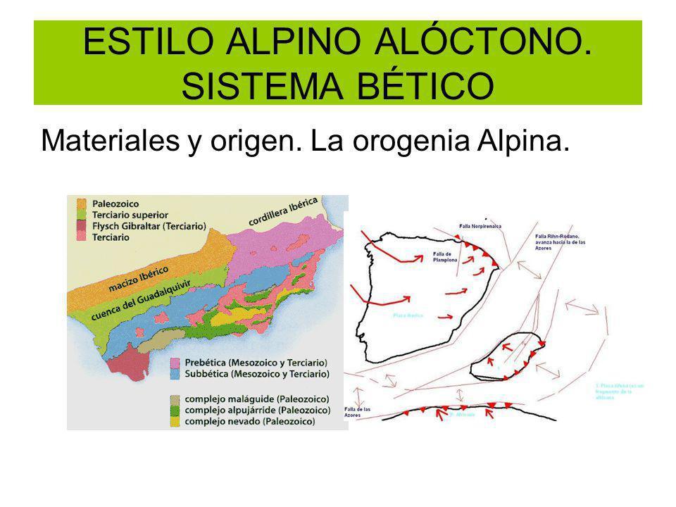 ESTILO ALPINO ALÓCTONO. SISTEMA BÉTICO Materiales y origen. La orogenia Alpina.