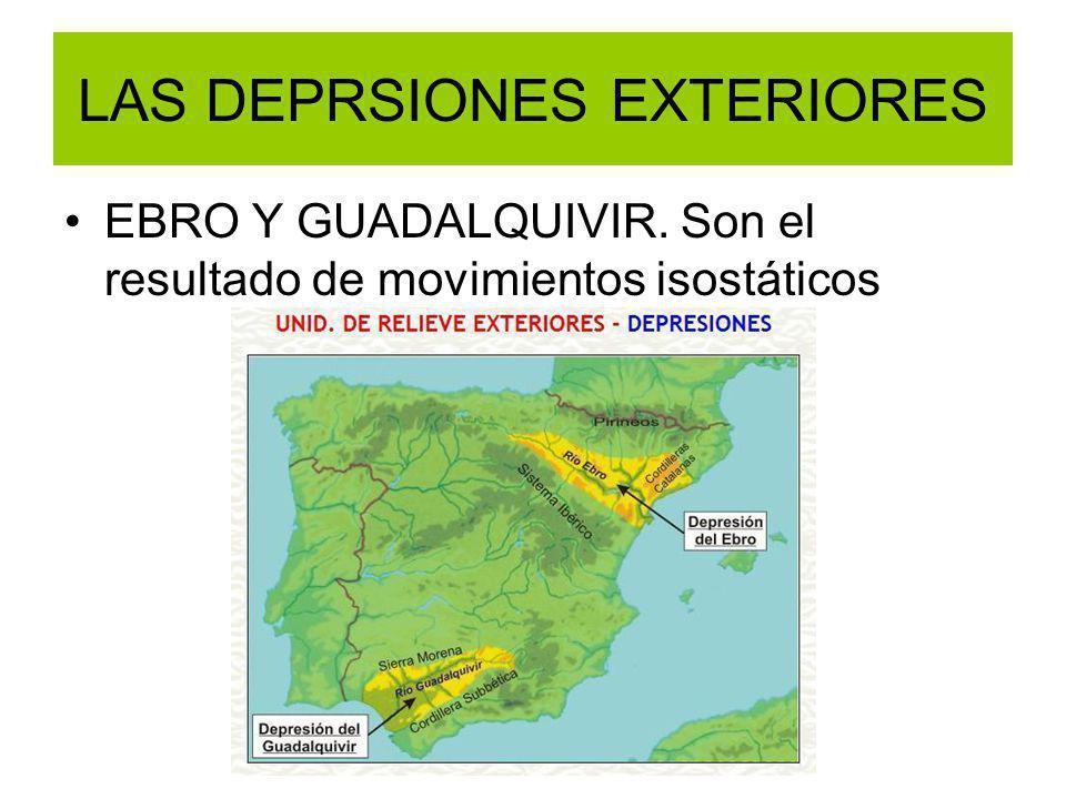 LAS DEPRSIONES EXTERIORES EBRO Y GUADALQUIVIR. Son el resultado de movimientos isostáticos
