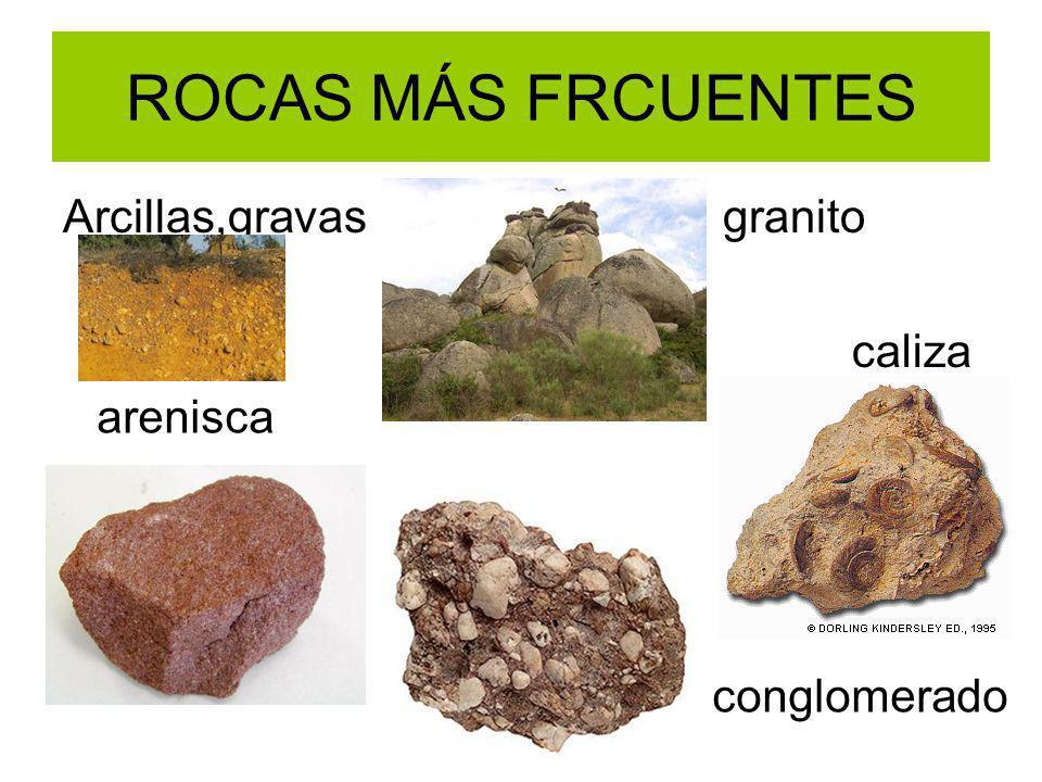 ROCAS MÁS FRECUANTES RICAS EN SILICATOS (CUARZO, ARCILLA)