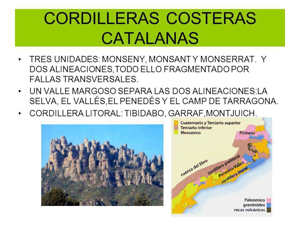 CORDILLERAS COSTERAS CATALANAS TRES UNIDADES: MONSENY, MONSANT Y MONSERRAT. Y DOS ALINEACIONES,TODO ELLO FRAGMENTADO POR FALLAS TRANSVERSALES. UN VALL