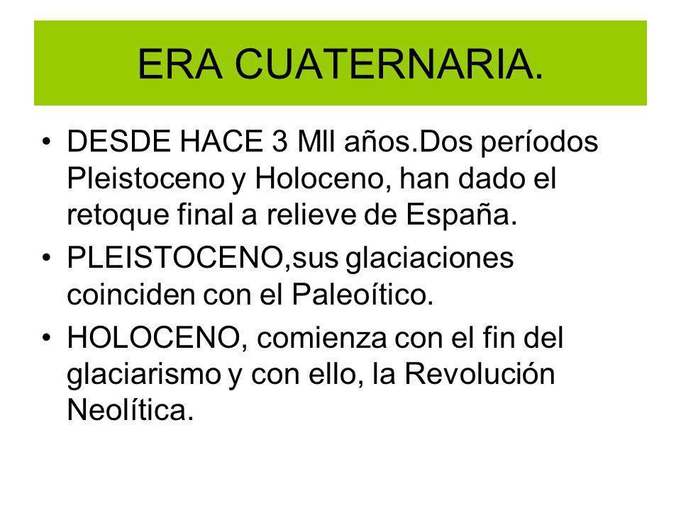ERA CUATERNARIA. DESDE HACE 3 Mll años.Dos períodos Pleistoceno y Holoceno, han dado el retoque final a relieve de España. PLEISTOCENO,sus glaciacione
