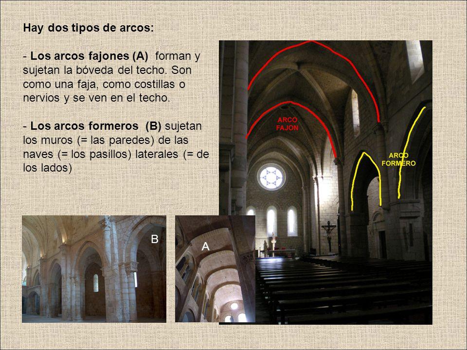 Hay dos tipos de arcos: - Los arcos fajones (A) forman y sujetan la bóveda del techo. Son como una faja, como costillas o nervios y se ven en el techo