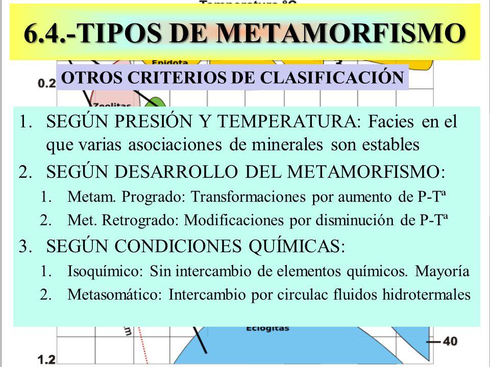 1.SEGÚN PRESIÓN Y TEMPERATURA: Facies en el que varias asociaciones de minerales son estables 2.SEGÚN DESARROLLO DEL METAMORFISMO: 1.Metam. Progrado: