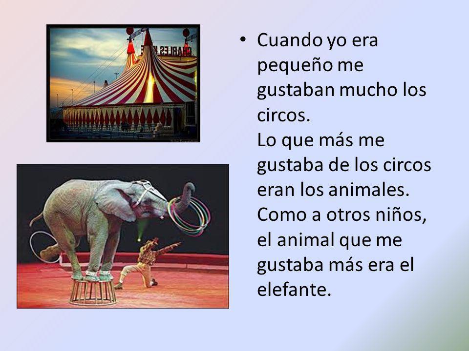 Cuando yo era pequeño me gustaban mucho los circos. Lo que más me gustaba de los circos eran los animales. Como a otros niños, el animal que me gustab